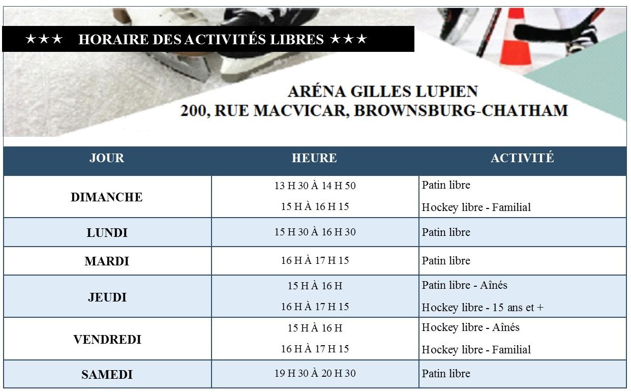 Horaire des activités libres - Aréna Gilles Lupien
