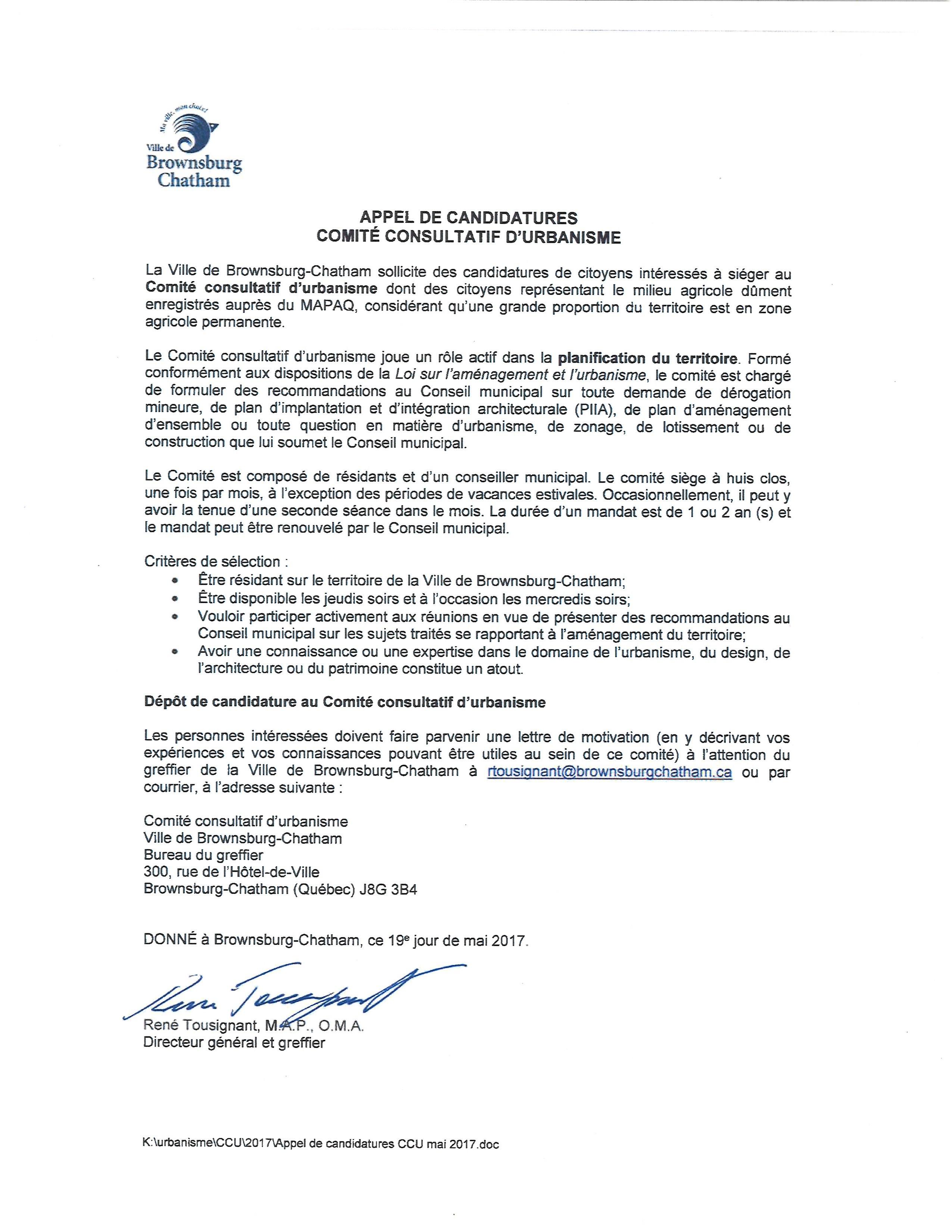 Appel candidature Comite consultatif urbanisme