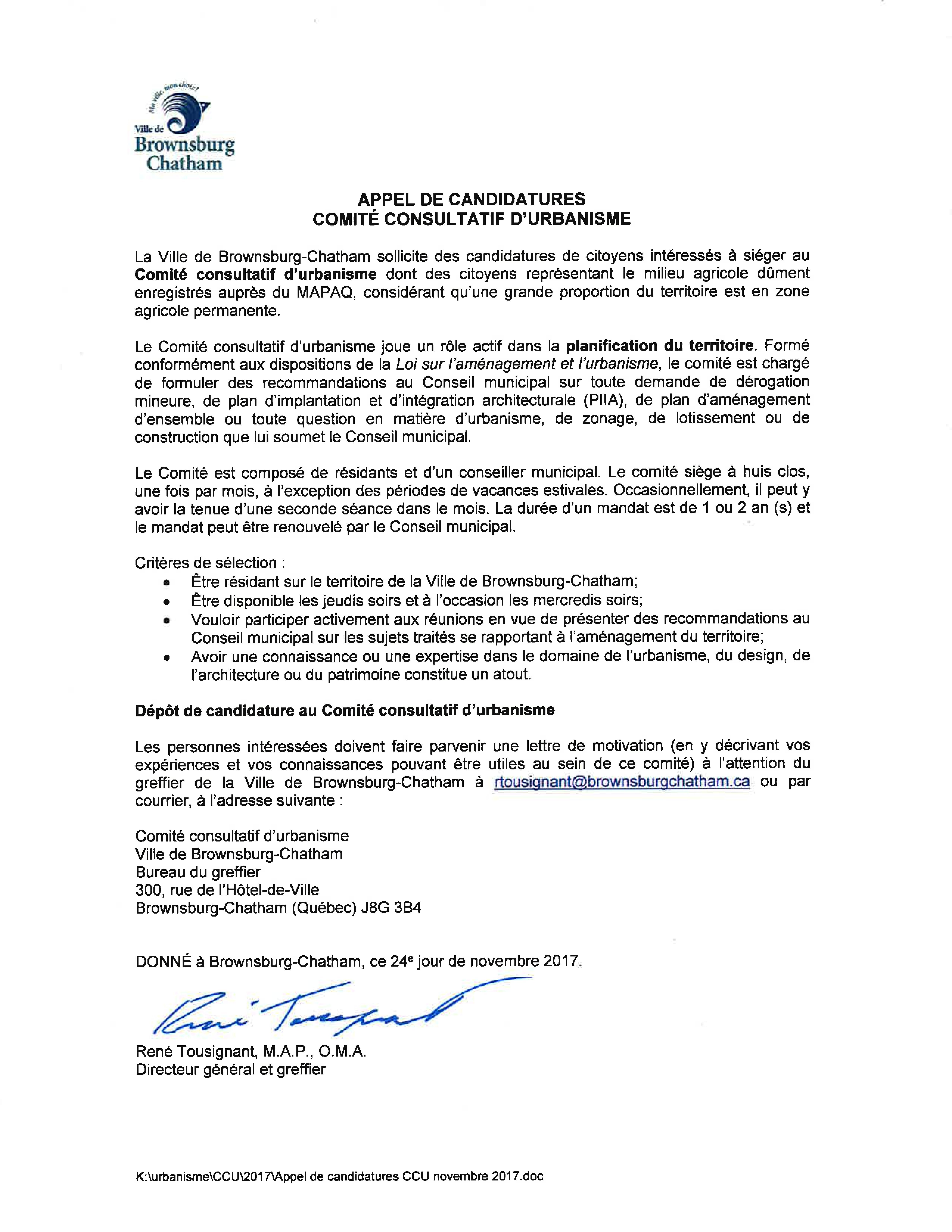 Appel de candidatures CCU - 24 novembre