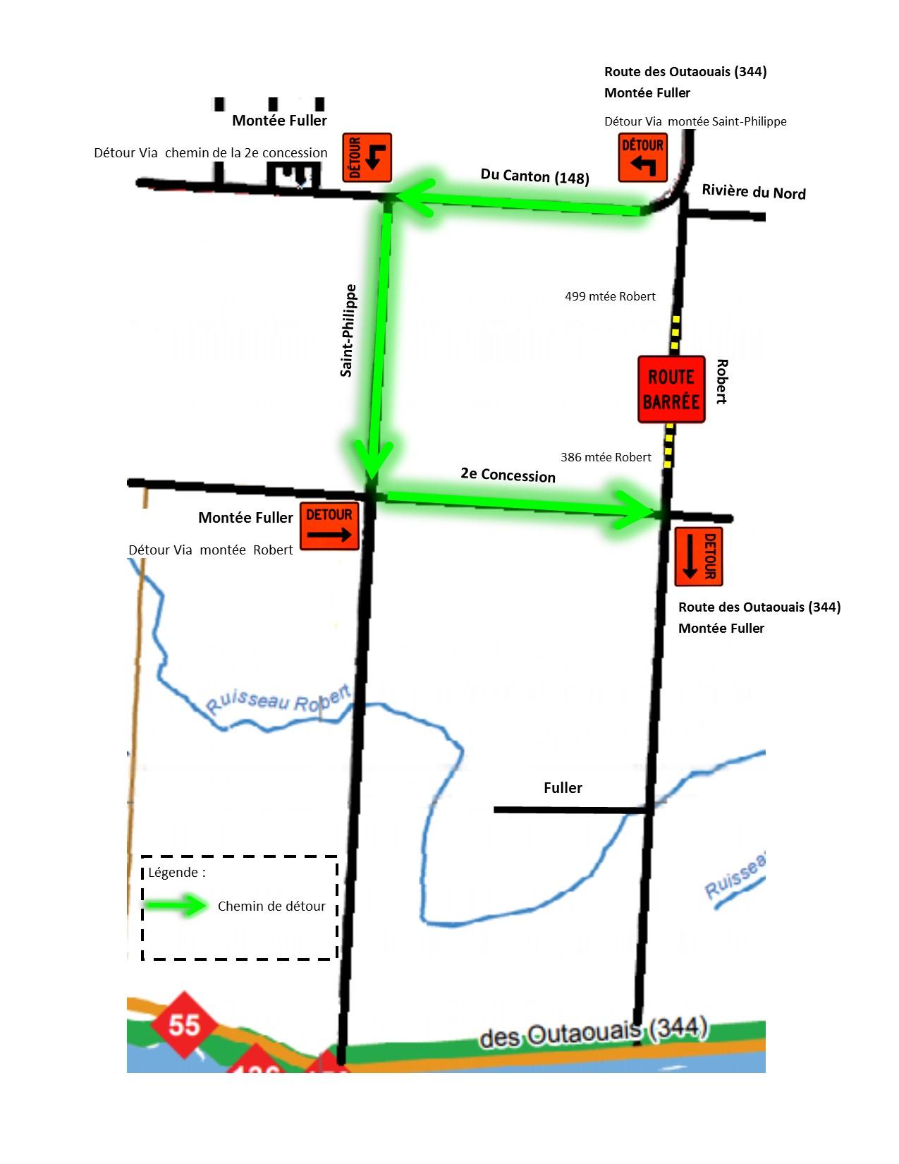 Détour pour la montée Fuller et route de Outaouais-originale